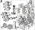 Picture of CONN.ROD/ PISTON/ CRANKSHAFT/ FLYWHEEL/ CRANKCASE/ FLANGING